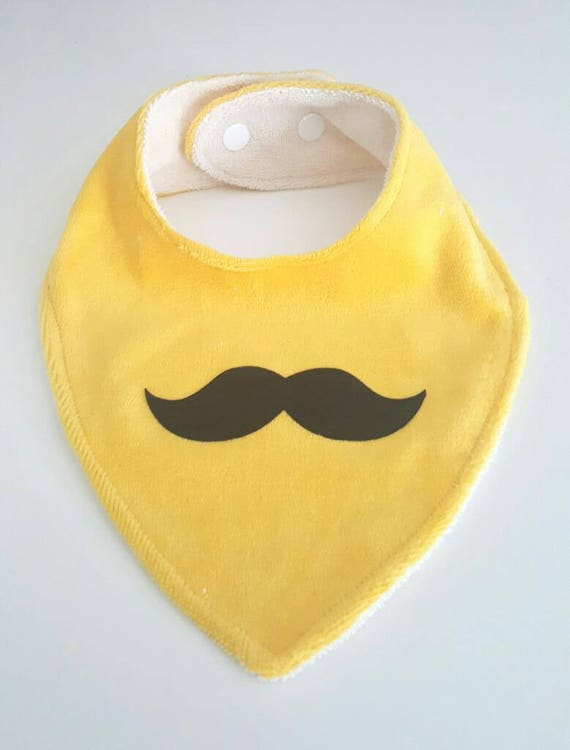 Discreet Handmade Bandana Bib Colored Moustaches Feeding