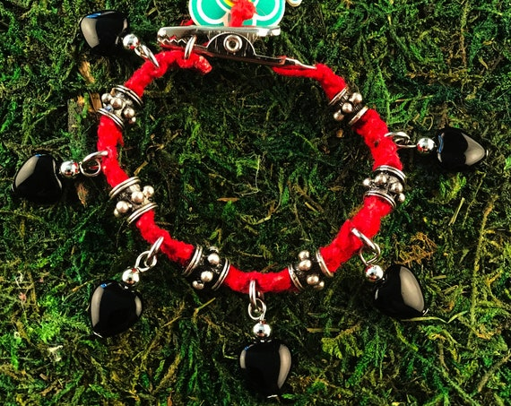 Black Glass Hearts Roach Clip Red Hemp Charm Bracelet Love Rocks Metal Beaded HOTI Handmade Ladies 420 Marijuana Cannabis Weed Pot Mary Jane