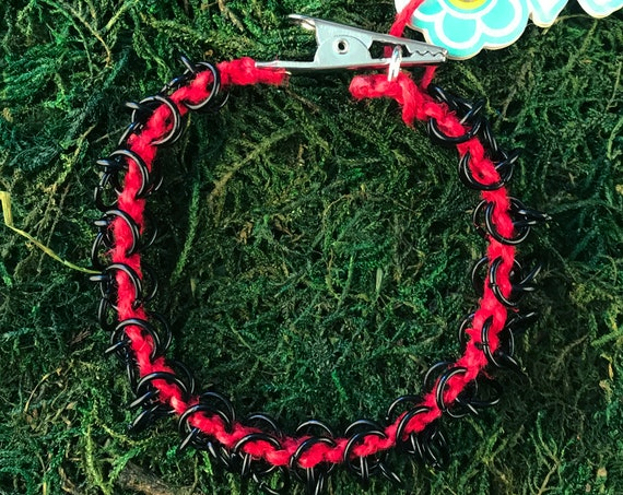 Black Chain Link Red Hot Roach Clip Brass Linked Bracelet Chainmaille HOTI Handmade Ladies Hand Crafted Links Chains 420 Marijuana Cannabis