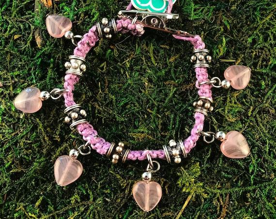 Purple Glass Hearts Roach Clip Hemp Charm Bracelet Love Rocks Metal Beaded HOTI Handmade 420 Marijuana Cannabis Weed Pot Dope Stoner Gift