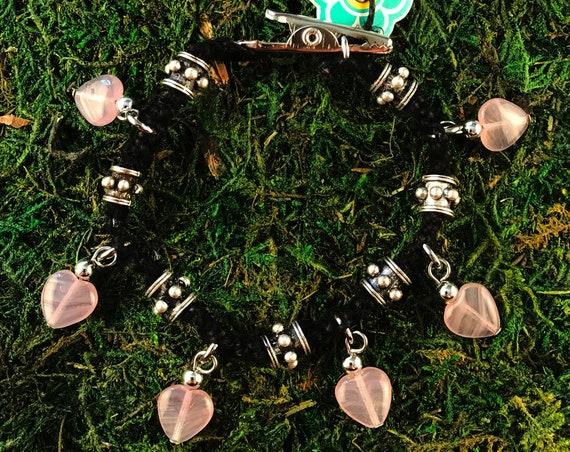 Purple Glass Hearts Black Hemp Roach Clip Charm Bracelet Love Rocks Beaded HOTI Handmade Ladies Marijuana Cannabis Weed Pot 420 Stoner Gift