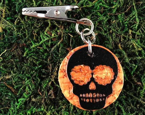 Sugar Skull Cork Roach Clip Dia de los Muertos HOTI Hemp Handmade Black Paper Natural Beige Repurposed Day of the Dead Halloween Stoner Gift