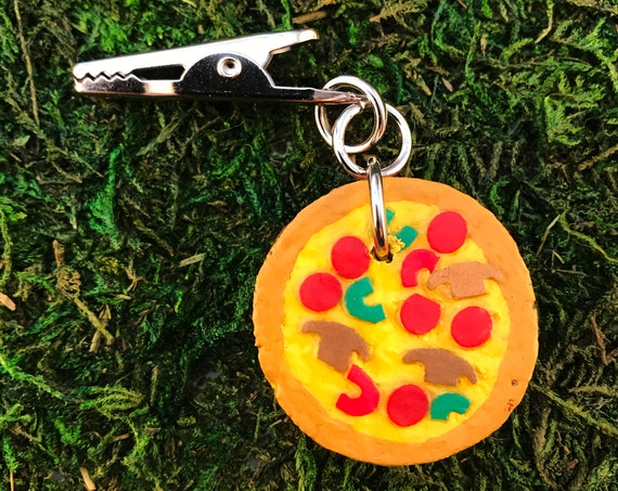 Red Green Pepper Pepperoni Mushroom Cheese Pizza Roach Clip HOTI Hemp Reused Champagne Cork Upcycled Personal Pot Pie Repurposed Stoner Gift