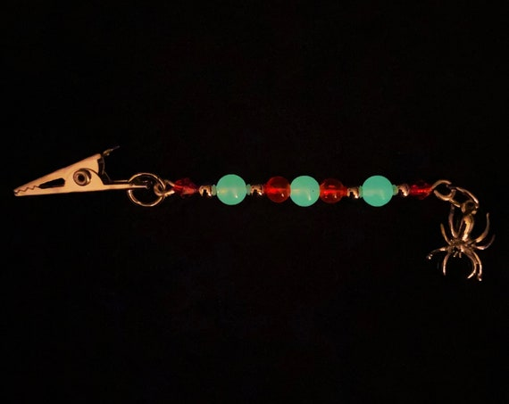 Red Toxic Spider Eggs Dangling Roach Clip Silver Beaded UV Glow in the Dark