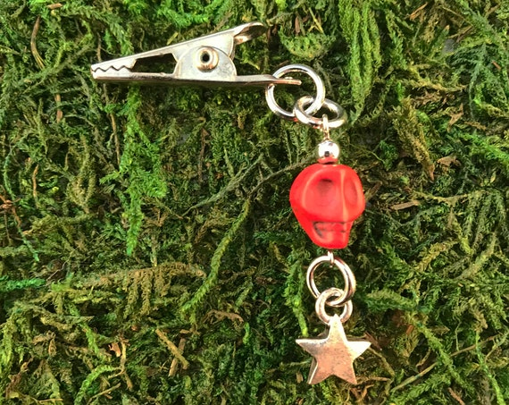 Red Skull Star Roach Clip It Charm HOTI Hemp Handmade Stars Skulls Agate Skully Cannabis Marijuana Mary Jane Weed 420 Stoner Gift Paper Card