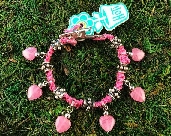 Pink Glass Hearts Roach Clip Hemp Charm Bracelet Love Rocks Metal Stud Beaded HOTI Handmade Ladies Marijuana Cannabis Weed Pot Dope Stoner