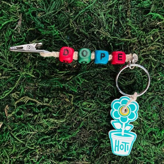 Beaded keychain roach clip with dress charm