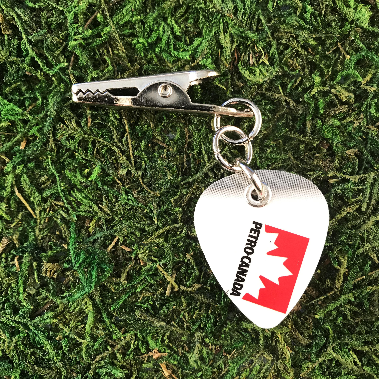 Petro Canada Logo Guitar Pick Roach Clip Maple Leaf White