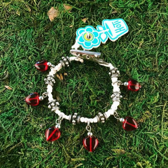 Red Glass Hearts Roach Clip Hemp Charm Bracelet I Heart Rock Natural Metal Bead HOTI Handmade Ladies Beaded Love Rocks Hand Crafted Charms