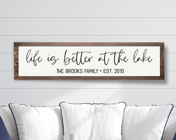 Lake house sign-gifts-decor-wood lake house established sign-custom lake house sign-lake house wall art-life is better at the lake