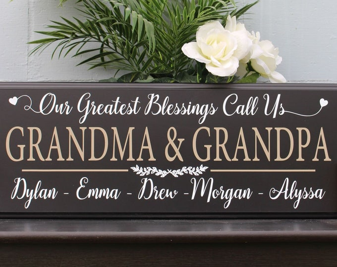 Personalized gift for grandparents-house-grandparents house sign-grandma grandpa sign-greatest blessings call us-grandkids names