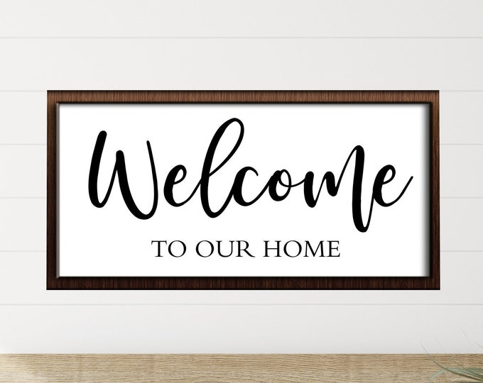 Personalized welcome sign-family name welcome sign-welcome to our home sign-custom wood welcome sign-housewarming gift-hanging sign