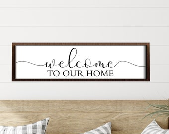 Welcome to our home sign-welcome sign wooden-foyer decor- personalized welcome sign-welcome door sign-wood welcome sign