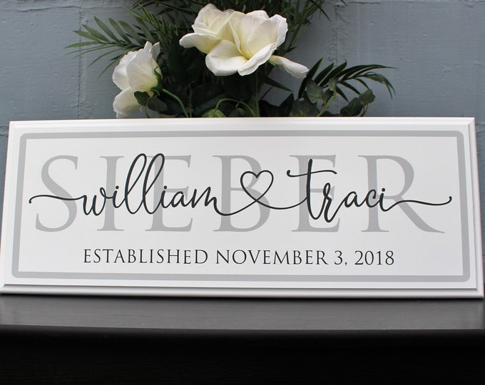 Wedding gifts personalized last name establish-anniversary-custom wood last name sign-wedding gifts personalized for couple-engagement gift
