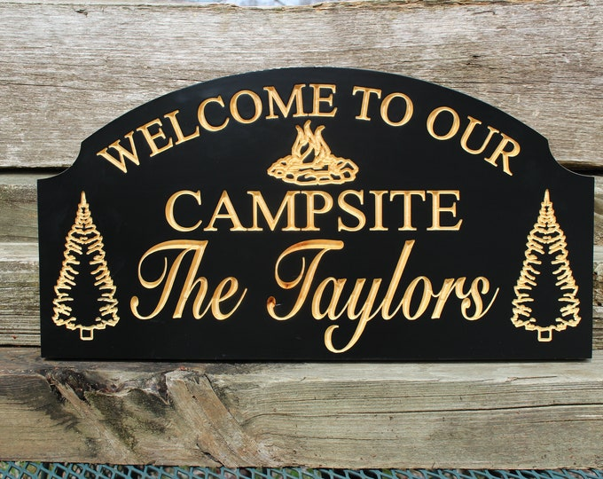 Welcome to our campsite-Personalized camping sign-custom RV sign-campsite signs-camping gift-wood campsite sign-campfire-camping family gift