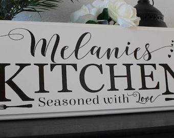 Personalized kitchen signs-gifts-decor-items-kitchen decor-art-gift for mom birthday-name sign-gift for cook-chef-custom kitchen sign
