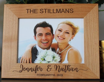 Personalized wedding picture frame as gifts for the couple-bridal shower gift-married couple gift Christmas gifts-for her-engraved frame