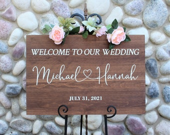 Wedding welcome sign-welcome to our wedding sign-for wedding entrance ceremony-wood-personalized sign for wedding-decor