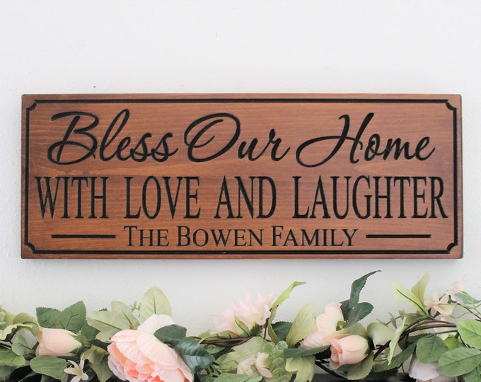 Bless this home wood sign-New home gift-Personalized housewarming gift-bless our home sign-first home gift-family name-house warming gift