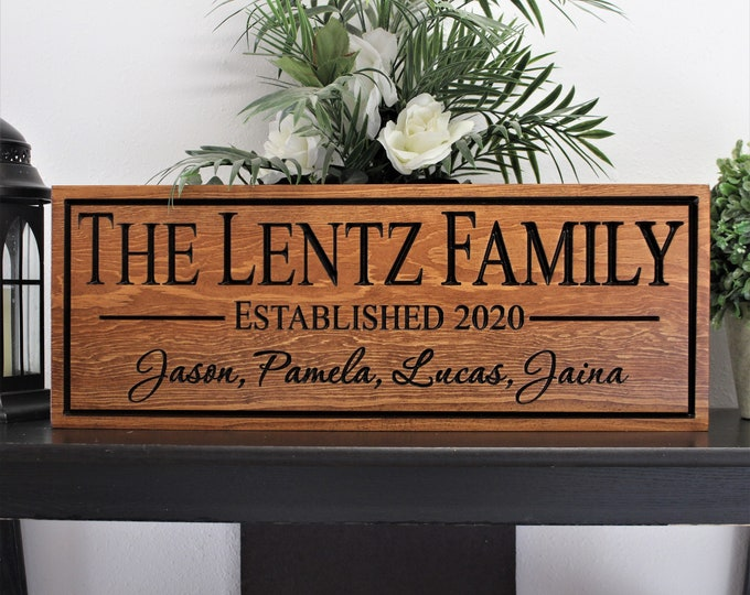 Personalized family name sign-Family sign with names-last name and member sign-established engraved wood wooden signs custom