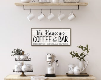 Coffee bar sign-coffee bar decor-kitchen sign-coffee sign-personalized coffee-kitchen wall decor-coffee bar ideas-wooden coffee sign
