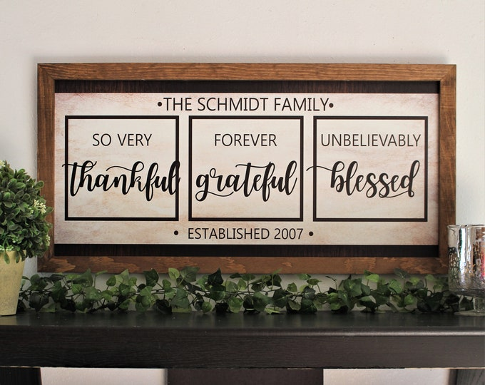 Family name framed sign-last name farmhouse sign-over the couch sign-established sign-living room sign-wall decor-thankful grateful blessed