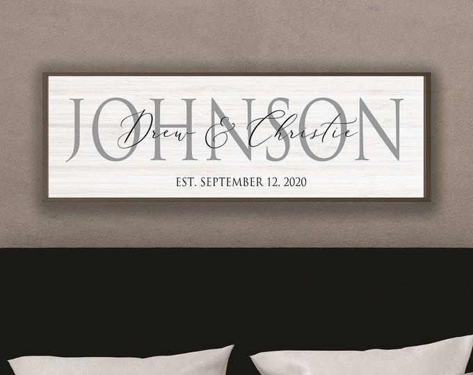 Wedding gifts personalized-master bedroom decor-reception decor-wall art-newlyweds-wedding photo prop-last name establish