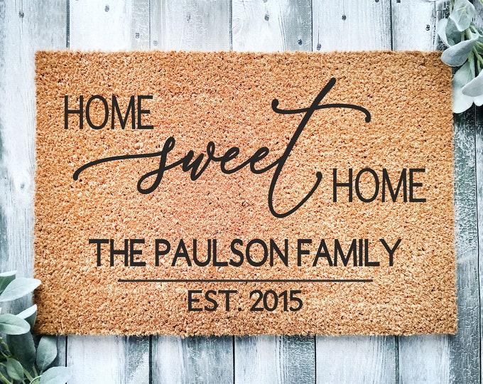 Home sweet home doormat-Personalized entrance rug-doormat-home doormat-house doormat-Housewarming gift-doormat-welcome doormat-family gift