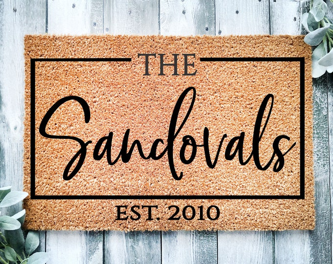 Personalized entrance rug-with last name-entrance doormat-custom last name doormat-door mat-Housewarming gift-doormat-welcome doormat