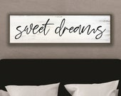 Master bedroom sign for over bed-master bedroom wall decor-wall art bedroom wall sign-sweet dreams sign