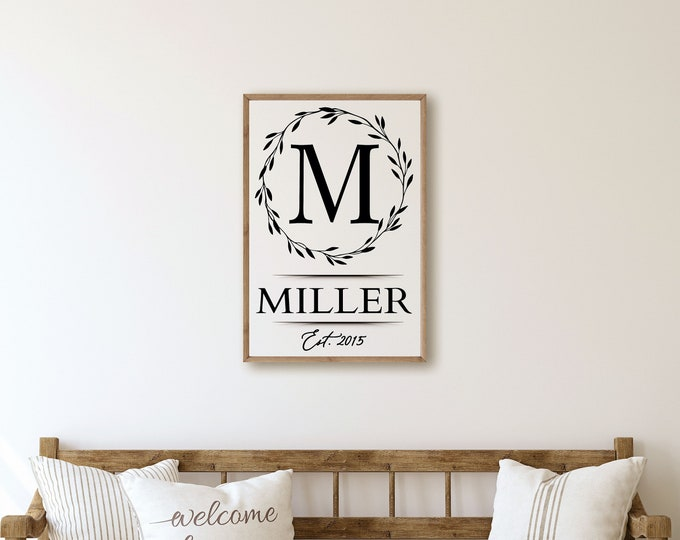 Last name letter sign-personalized last name sign-family monogram name sign wood entryway sign-living room-farmhouse sign-mother's day gift