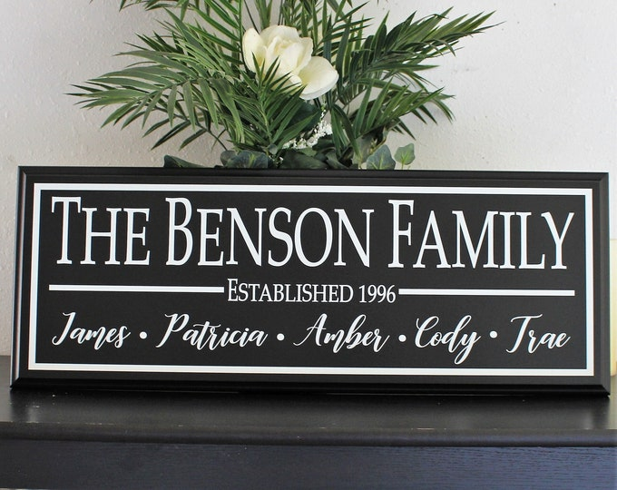 Wood family name sign with first names-personalized family name sign-custom family name sign-last name sign family name plaque gift