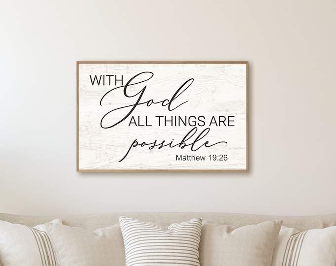 Scripture wall decor-with God all things are possible sign-bible verse sign-for home-decor signs-wall scripture-wall art wood-living room