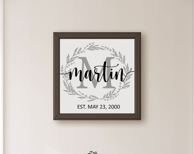 Personalized Family Established Sign Wood-Last Name Sign-Anniversary Gift for Parents-Family Name Plaque-Gift for Family Established