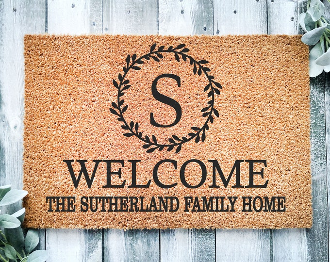 Personalized entrance rug-monogram doormat-custom welcome doormat-coir-new home gift-Housewarming gift-doormat-family gift