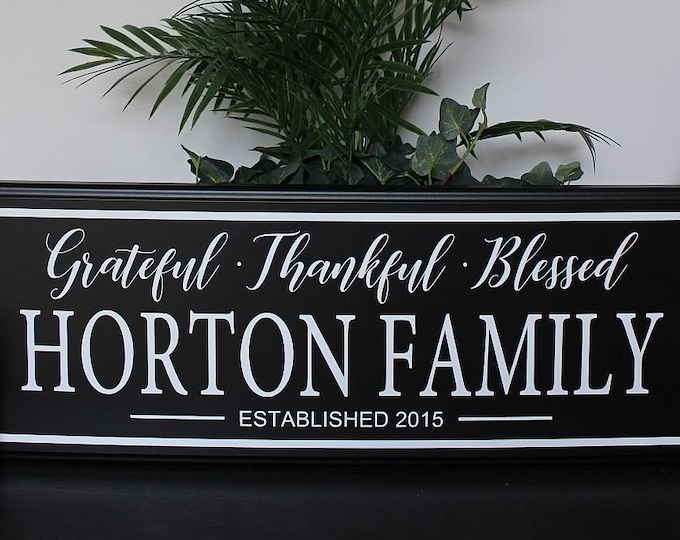 Family name plaque-grateful thankful blessed-Family Established Family Name Signs-Established Plaques-Family Wall Sign-Last Name Wood sign