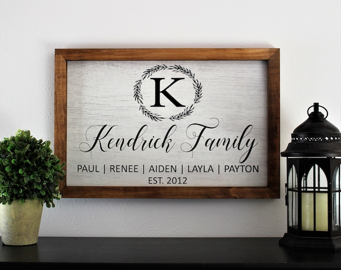 Framed family established sign-wood framed sign-monogram last name family sign-gift for parents-family plaque farmhouse-parent's anniversary