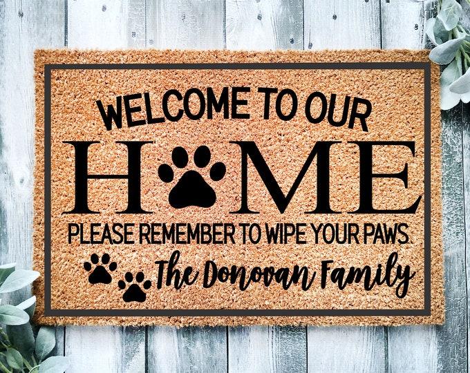 Wipe your paws doormat-Personalized welcome doormat-door mat-custom doormat-housewarming gift-front door mat-realtor closing gift