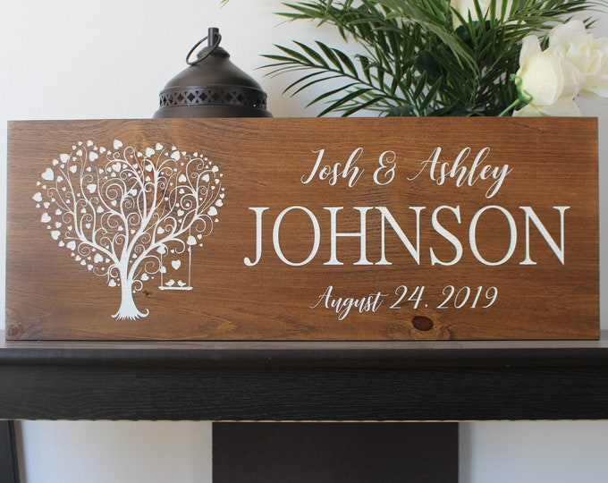 Personalized wedding gift sign for newlyweds-best friend-gift for bride and groom-wood love tree sign-wedding gift last name establish