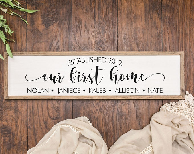 Our first home sign Personalized-new home sign-new homeowner gift-real estate closing-housewarming gift-coordinates or address house sign