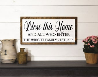 Bless this home-bless our home-welcome wall decor-family established sign wood-family gift idea-plaque-personalized home sign-last name sign