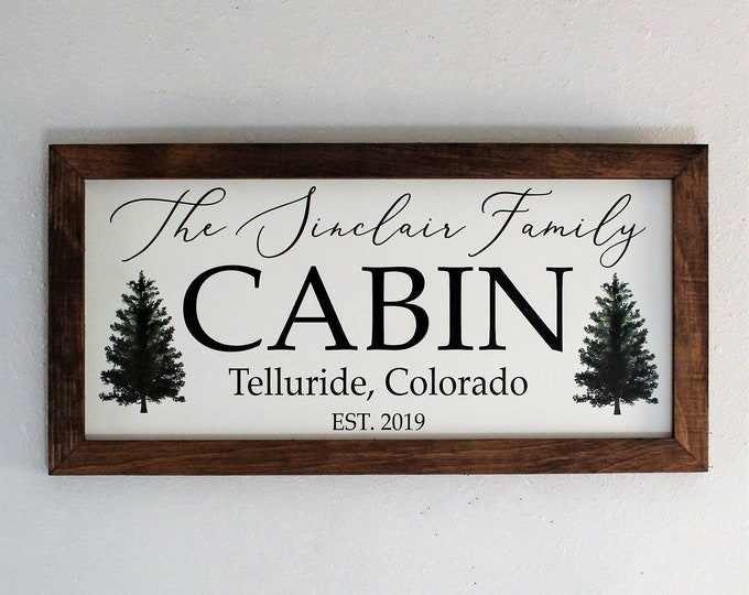 Custom cabin signs-personalized cabin sign for cabin gifts-cabin art-cabin decor-family cabin sign-wall sign