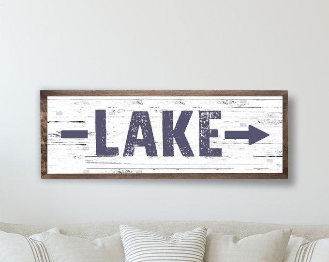 Lake arrow sign-lake sign with arrow-lake house decor-Custom lake house signs-home on the by the lake gift-lakehouse sign