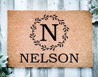 Housewarming gift-monogram doormat-family gift-front doormat-welcome rug-
