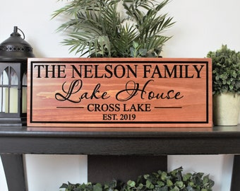 Personalized Lake house sign-gifts-decor-wood lake house decor sign-custom lake house sign-lake house wall art-housewarming gift