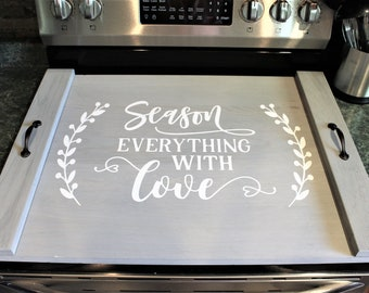 Stove top cover wood-noodle board-electric stove cover-kitchen decor-wood cooktop cover-rustic stove top cover for flat top stove-gas stove
