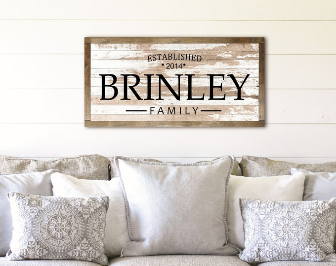 Family name sign wood-farmhouse family wall sign-extra large sign-family established plaque-gift for family wood established sign-last name