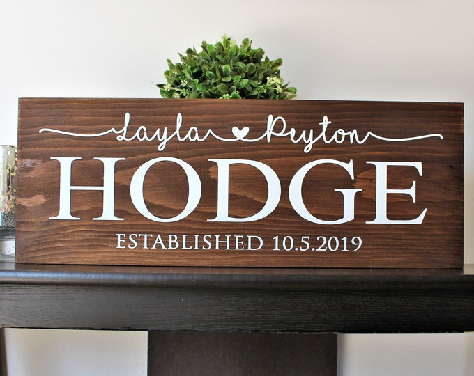 Couple name sign-personalized wedding gift-last name sign-engagement gift-established date-wedding date-hanging family sign-wedding decor