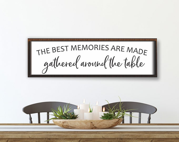 Dining room wall decor-kitchen-the best memories are made gathered around the table-dining room sign-farmhouse kitchen sign decor