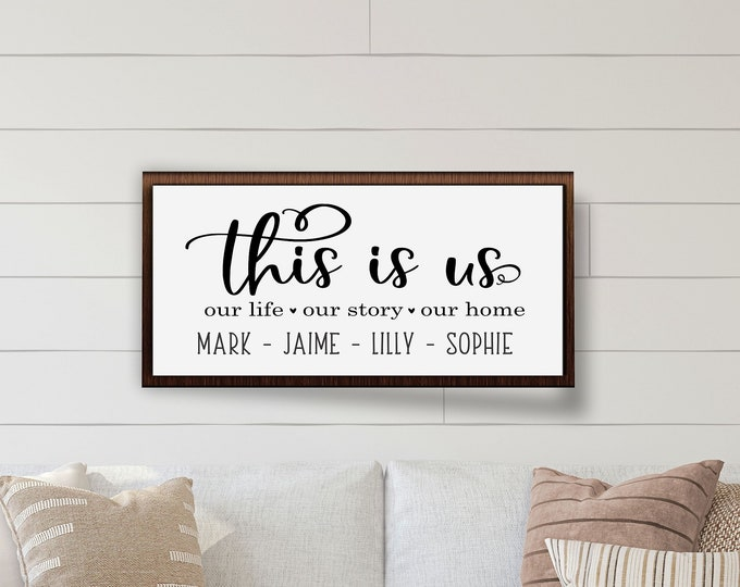 Family name sign-this is us wood sign-last name sign-family wall art-above couch decor-wood framed sign-wood family sign-housewarming gift